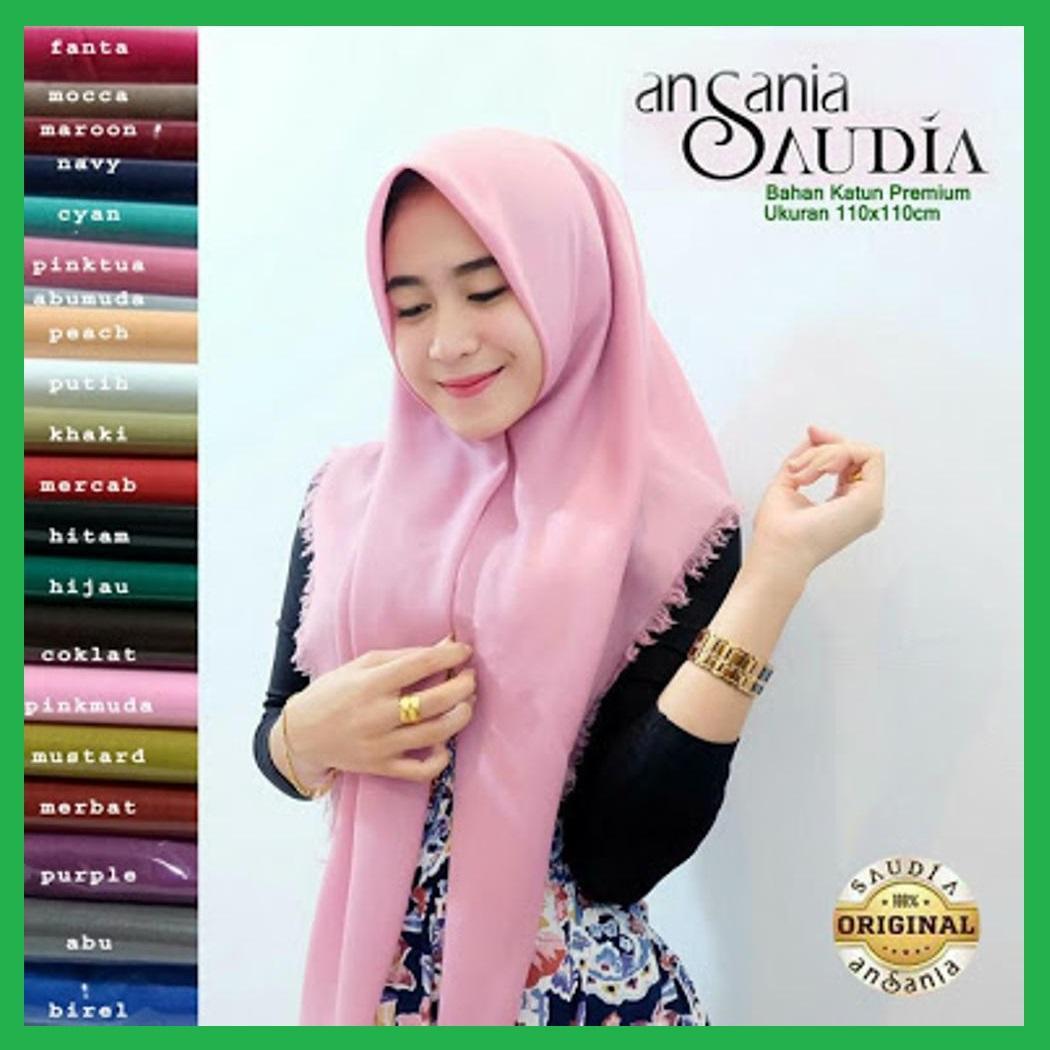 Original Ansania Saudia Exclusively Rawis Square Hijab Jilbab Kerudung Segi Empat