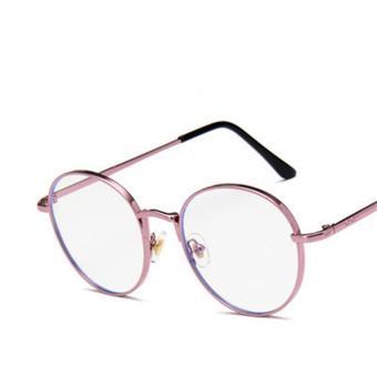 Bandingkan Toko Retro Gaya Korea pasang bingkai kacamata wanita tidak  berderajat wajah bulat Logam bingkai kacamata b35d54343e