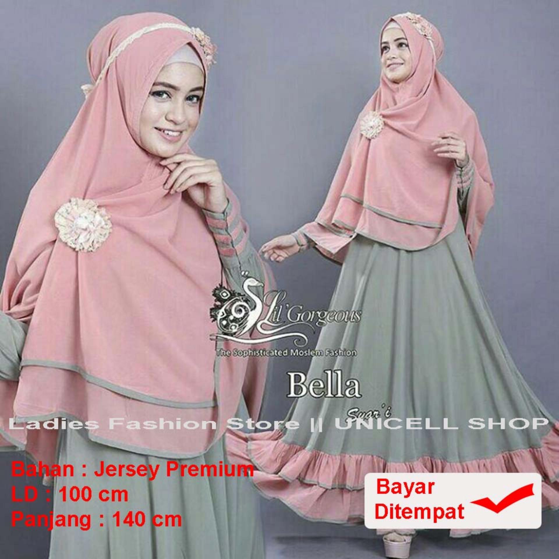 UC Baju Gamis Dress Muslim Syari Wanita EYYA Polos (LLABE) 1N - Hijau ( Dapat Jilbab ) / Hijab Muslimah / Baju Muslimah Wanita / Syari Syari'i Muslim / Gaun Muslim / Long Dress Muslimah Wanita