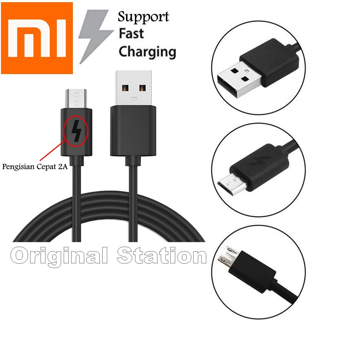 Xiaomi Original Micro USB 2A Support Fast Charger Hitam For Xiaomi Mi 4 Mi 3 Redmi