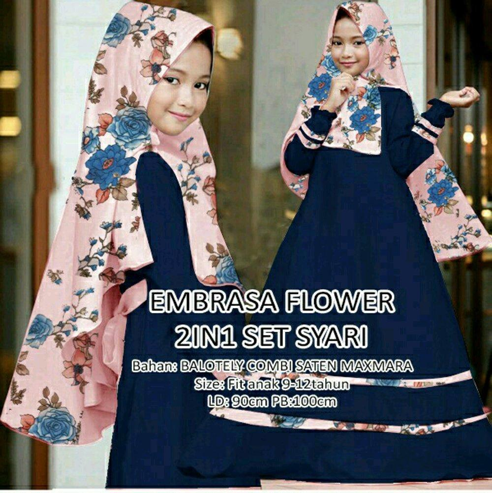 Alina Flower kids Syari 6thn to 9thn gamis maxi dress anak SD Plus jilbab di lapak anayanda shop anayandashop