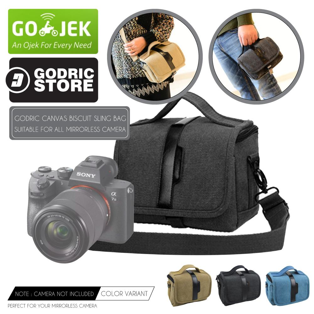 Godric Tas Canvas Fashion Minimalis Sling Bag Case Kamera Mirrorless UNIVERSAL XA3 XA5 XA10 XA20 A6000 A6300 M10 M3 M100 etc