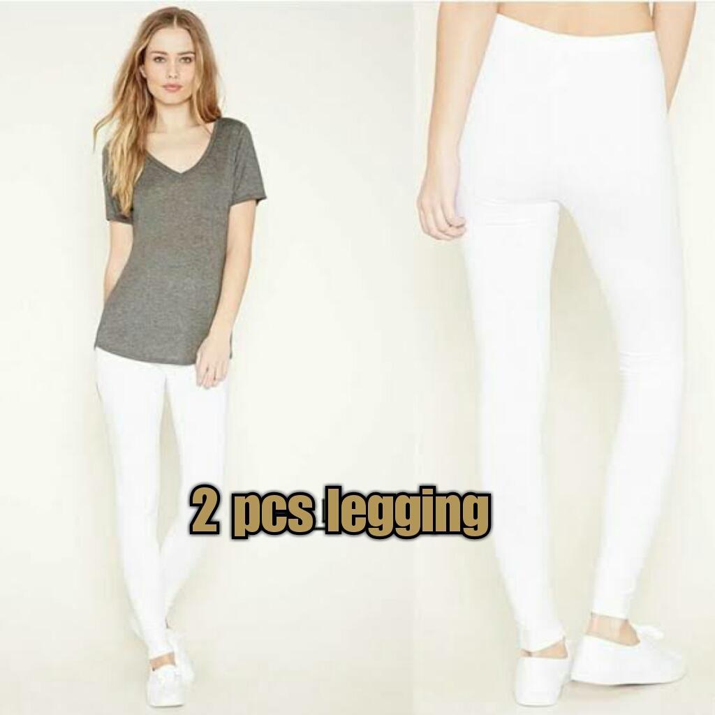 Celana Leggging Wanita Terbaru Legging Ukuran All Size Fit To L Aneka Warna Arwearhouse 2 Pcs Putih