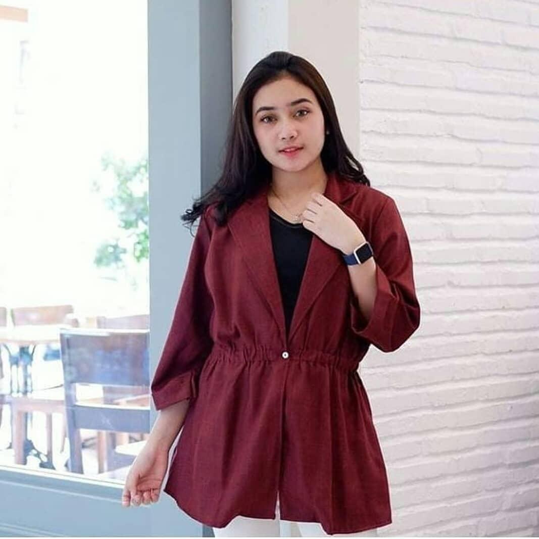 Fashion Muslim Rihana Cardy Ballotely / Jeans Blazer Casual Wanita/Outher Perempuan Lucu/Cardigan