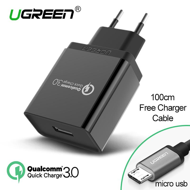 UGREEN QC3.0 Quick Charge 3.0 Quick Charger for Xiaomi Redmi Samsung ASUS Zenfone Handphone hp 18W Fast Charger Black + Free 1 Meter Micro USB Cable