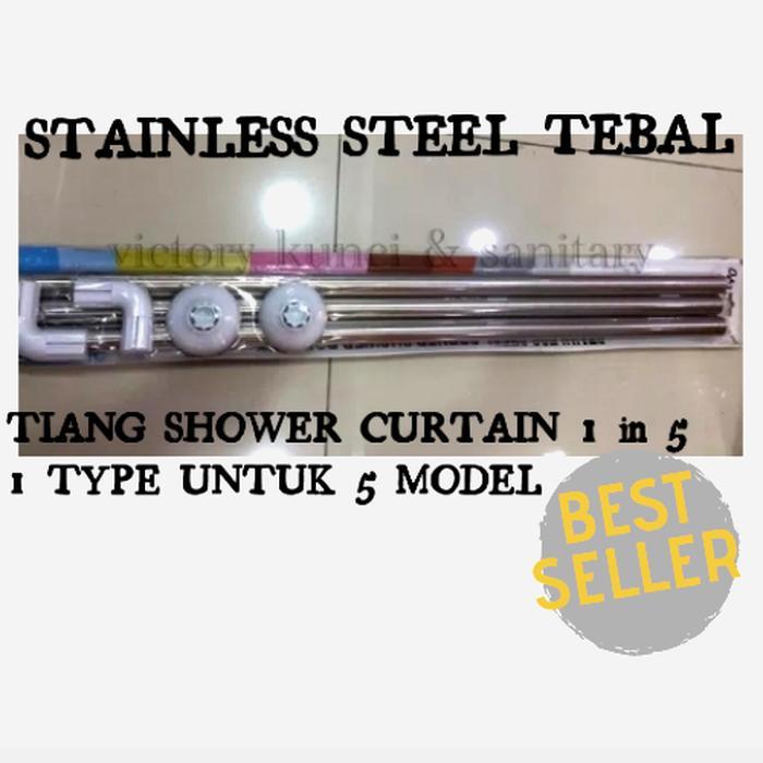 Tiang shower curtain U / L / Lurus   Tiang tirai kamar mandi stainless