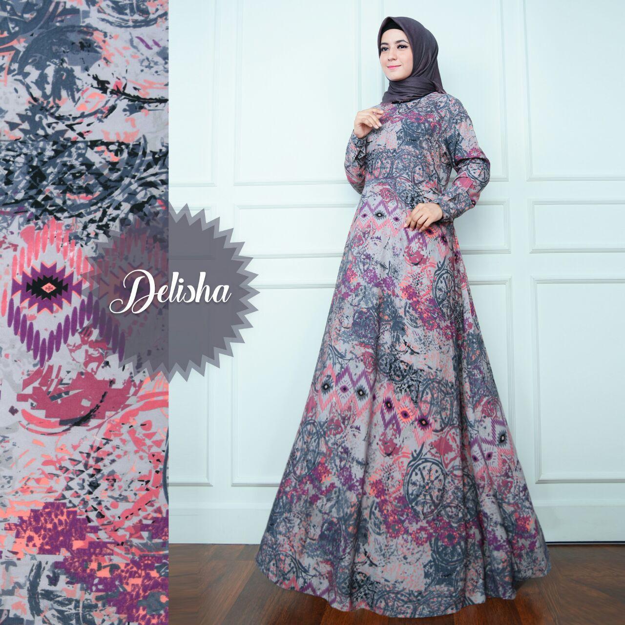 Anggun Gamis – Fashion Wanita - Gamis Muslimah – Gamis Murah – Gamis Kekinian – Satu Set Kerudung - Bahan Monalisa – Delisha