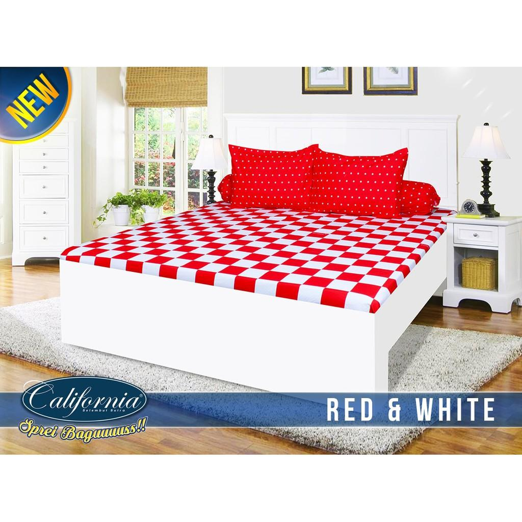 Ss Sprei California My Love 180 Red And White 180x200 King Size No 1 Murah - Nasa-shop
