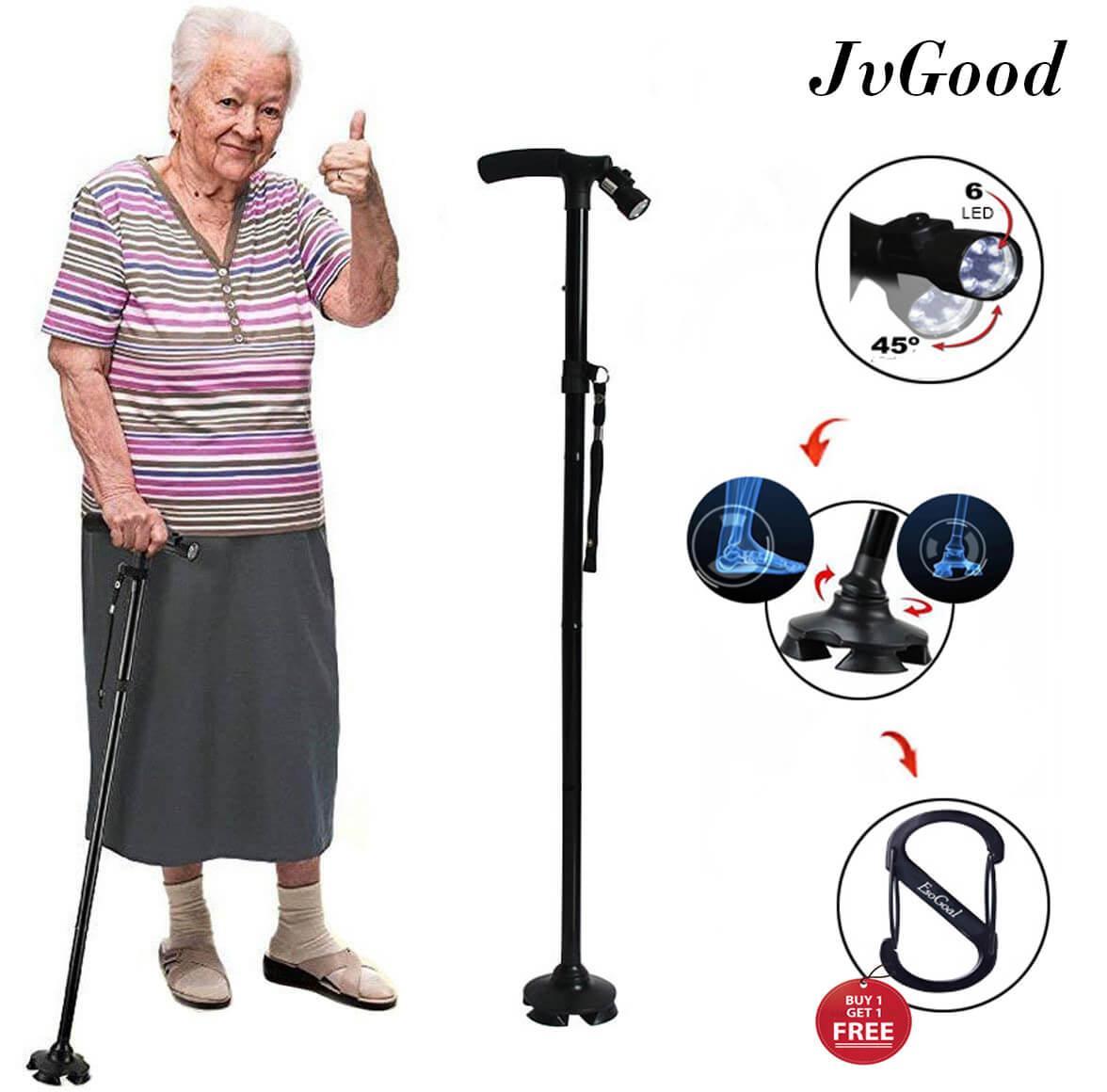 Rp 175.000 JvGood Walking Stick Folding Cane Crutch With LED Light 5 ...