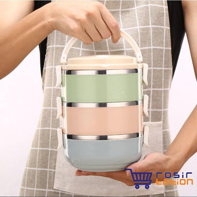 Grosir Station - Eco Lunch Box Stainless Steel Rantang 3 Susun Glossy Macaron By Grosirstation