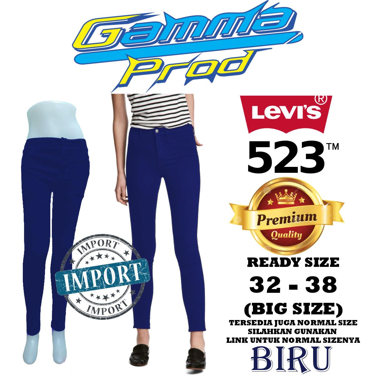Celana Soft Jeans LEVIS 523 BIRU Skinny WANITA PREMIUM Zipper YKK BIG SIZE