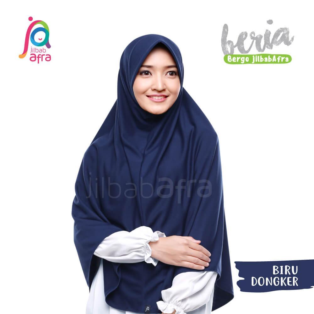 Jilbab Afra Kaos Syari Serut Jumbo Beria 30 Biru Dongker Bergo Hijab Instan Bahan Adem