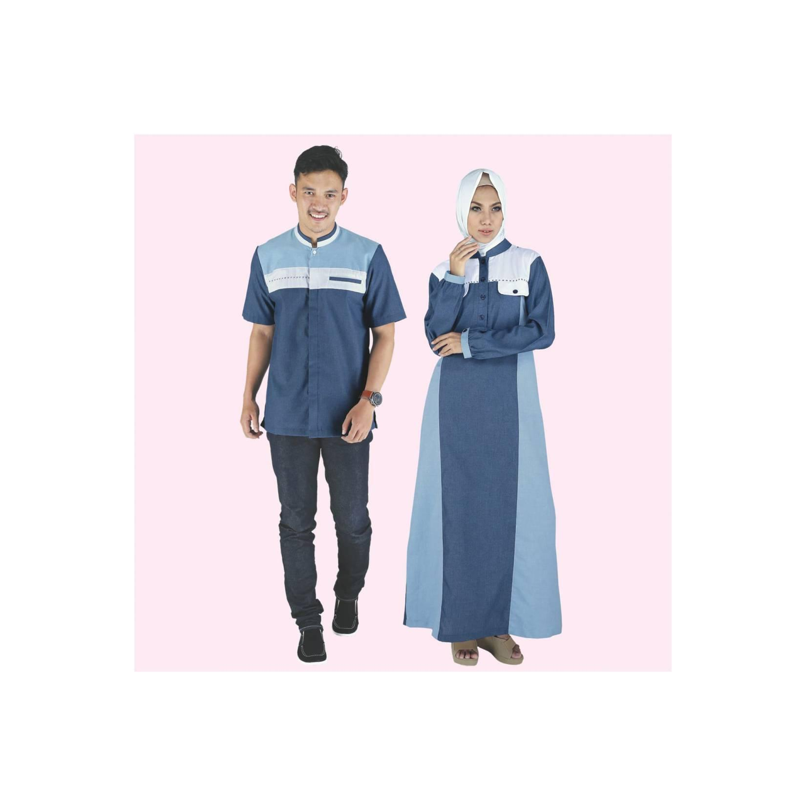 Baju Busana Muslim Couple Gamis Pakistan Dress Cewek Cowok Biru