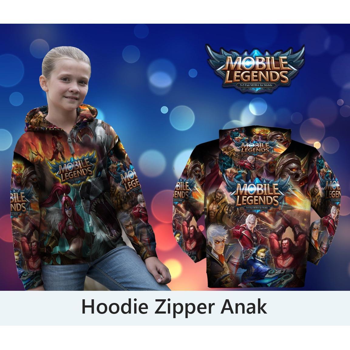 Jaket Hoodie Anak Zipper Fullprint Custom Mobile Legend All Skin IRITHEL