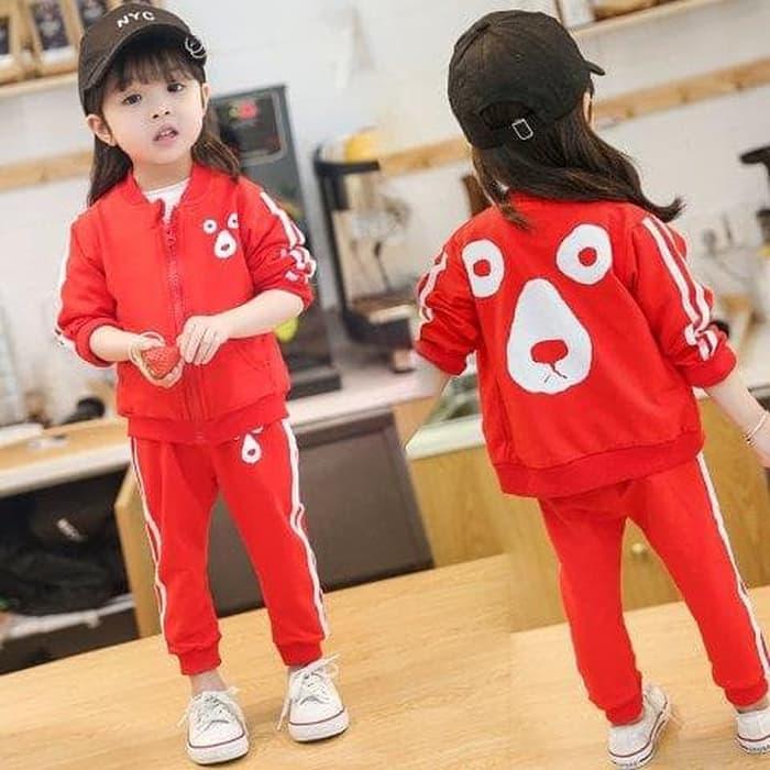 Harga update terbaru baju setelan anak perempuan import jaket celana training bear | HARGALOKA.COM