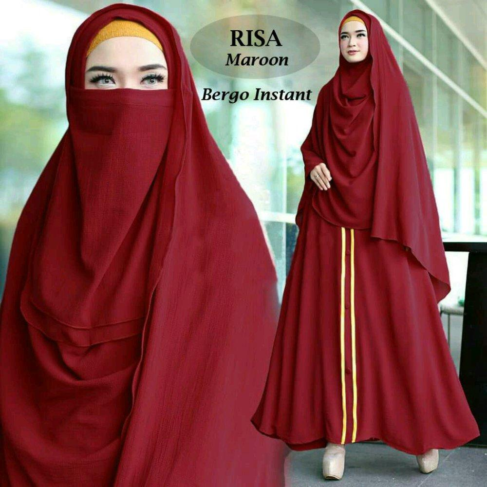 Rissa Syari Gamis Maxi Dress Jumbo Polos Fit M to XXL Plus Pasmina instan Free niqob cadar di lapak anayanda shop anayandashop