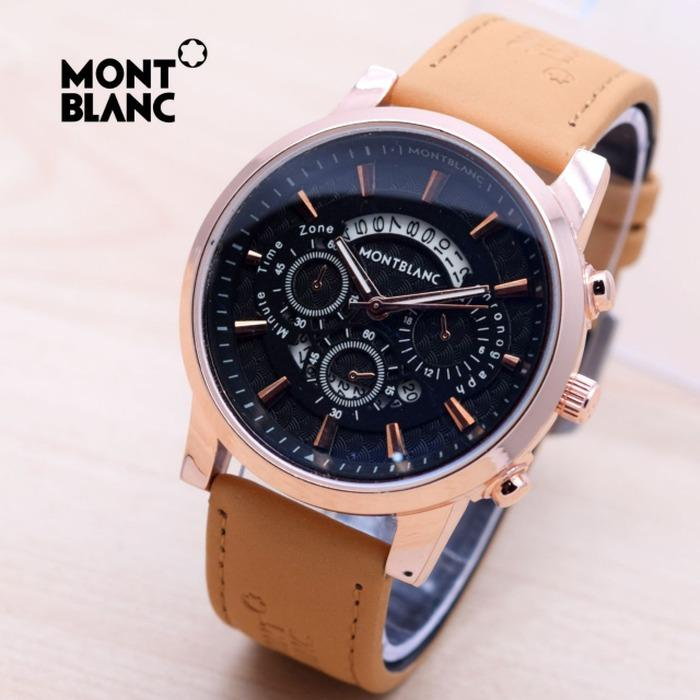 Jam Tangan Pria / Cowok Montblanc Texas Leather Brown Rose