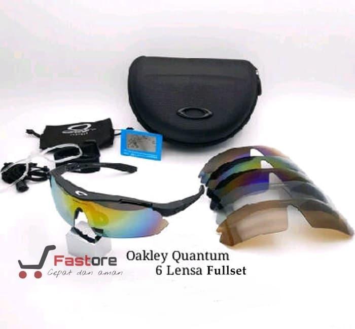 Kacamata Sport Oakley Quantum 6 Lensa - Gowes Sepeda Motor Kerja