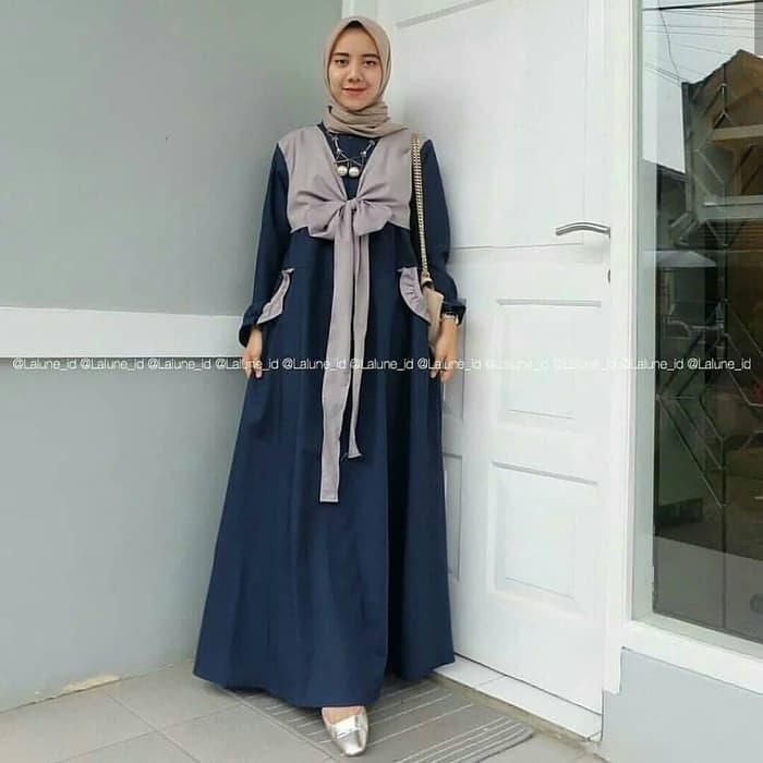Jual Dress Murah/terbaru/ABI MAXY PR001 Navy/Best Seller