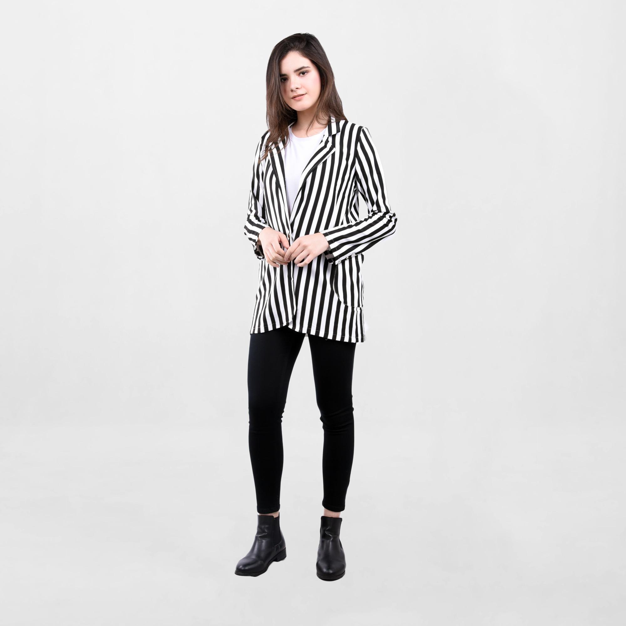 ADA Fashion Stripe Blazer Wanita Lengan Panjang Warna Putih