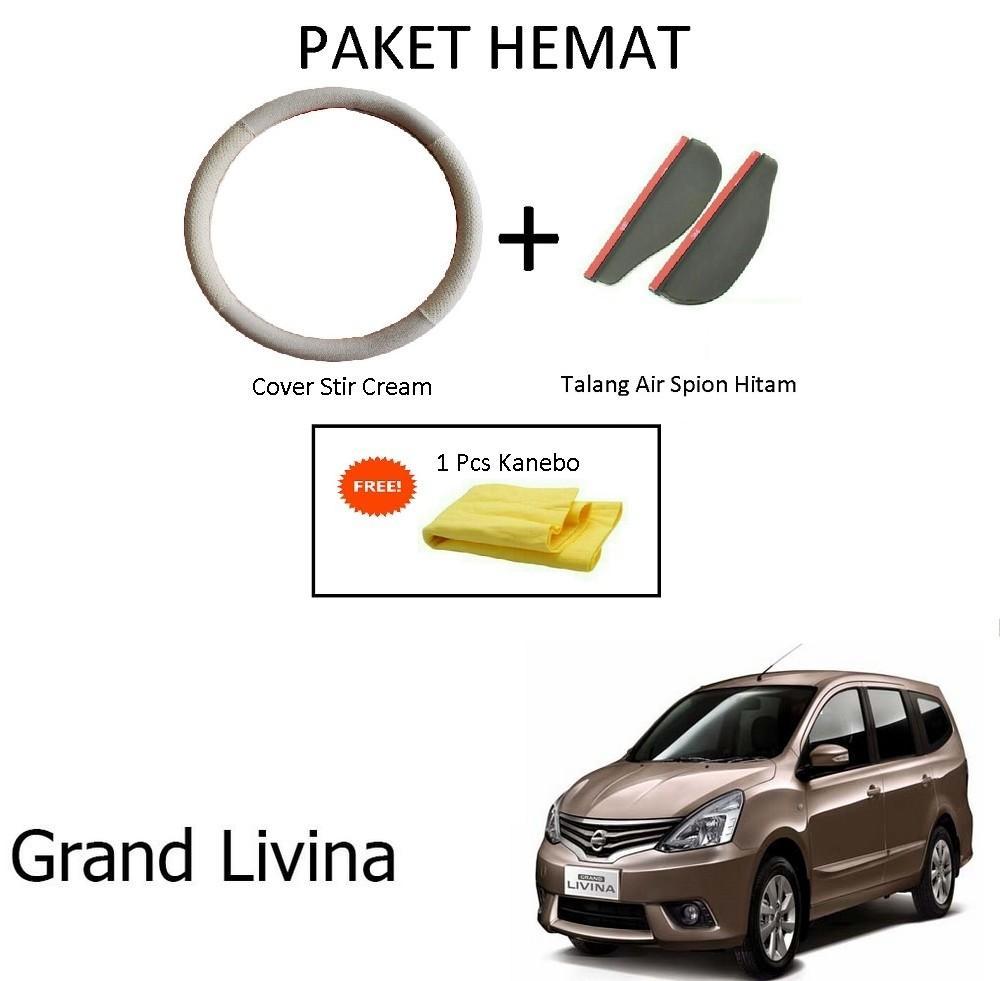 Sarung / Cover Stir / Setir / Steer Mobil Grand Livina Warna Cream + Talang Air Spion Hitam