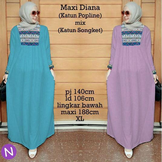 Promo Hari Ini Cn 7116 Maxi Diana Dress Terusan Simple Elegan Wanita Murah Gamis Syari Batik Songket