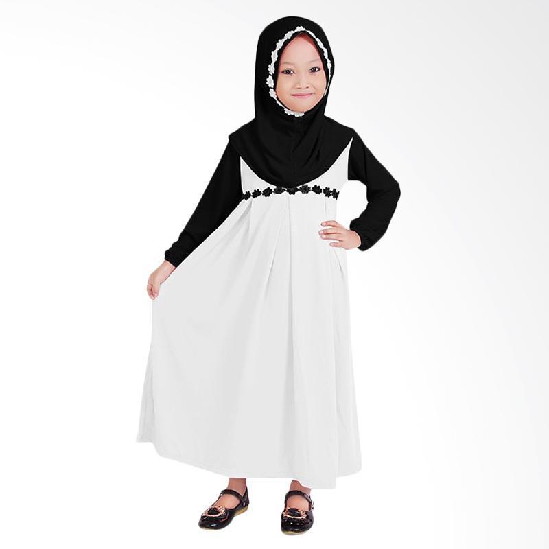 Baju Muslim Baju Gamis Anak Perempuan - Putih Hitam | Termurah