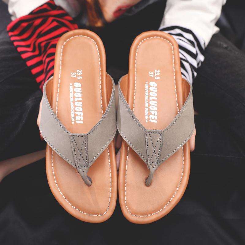 Sandal Kulit Pakaian Luar Sendal Wanita Jepit Kaki (1102 Kopi)