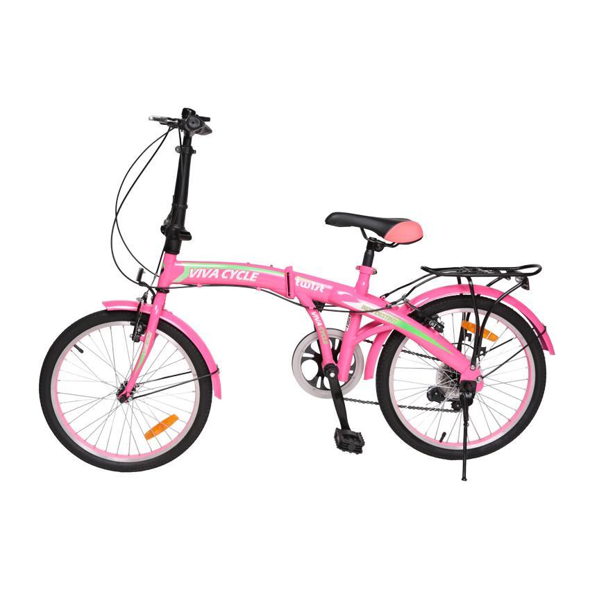 Viva Cycle Twist Y3110 Hi-Ten Folding 7sp Sepeda Lipat 20' - Merah Muda/Hijau/Glossy (JABODETABEK Only)
