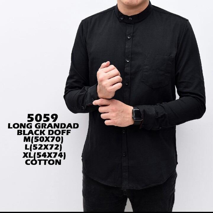 bajuku murah 5059 long grandad black doff kemeja koko pria warna hitam batik long slevees short slevees kemeja fashion atasan pria fashion pria kerah lipat sanghai kemeja distro kemeja kantor kerja fashion formal
