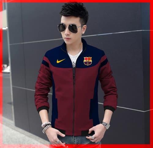 DISKON [ Jaket Barca CL] pakaian jaket pria warna navy + Maroon TERMURAH