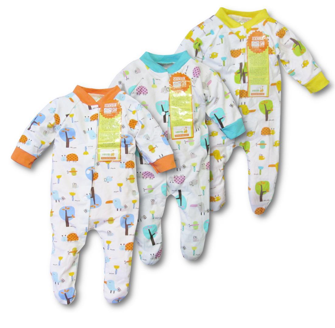 Fiona 3pcs baju anak bayi slipsuit rompers baju kodok jamper overall velvet tutup kaki