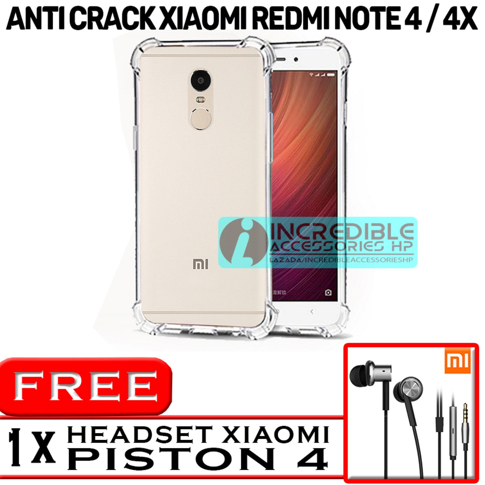 PROMO  Case Anti Shock / Anti Crack Elegant Softcase  for Xiaomi Redmi Note 4x - White Clear + Free Headset Model Mi Piston 4