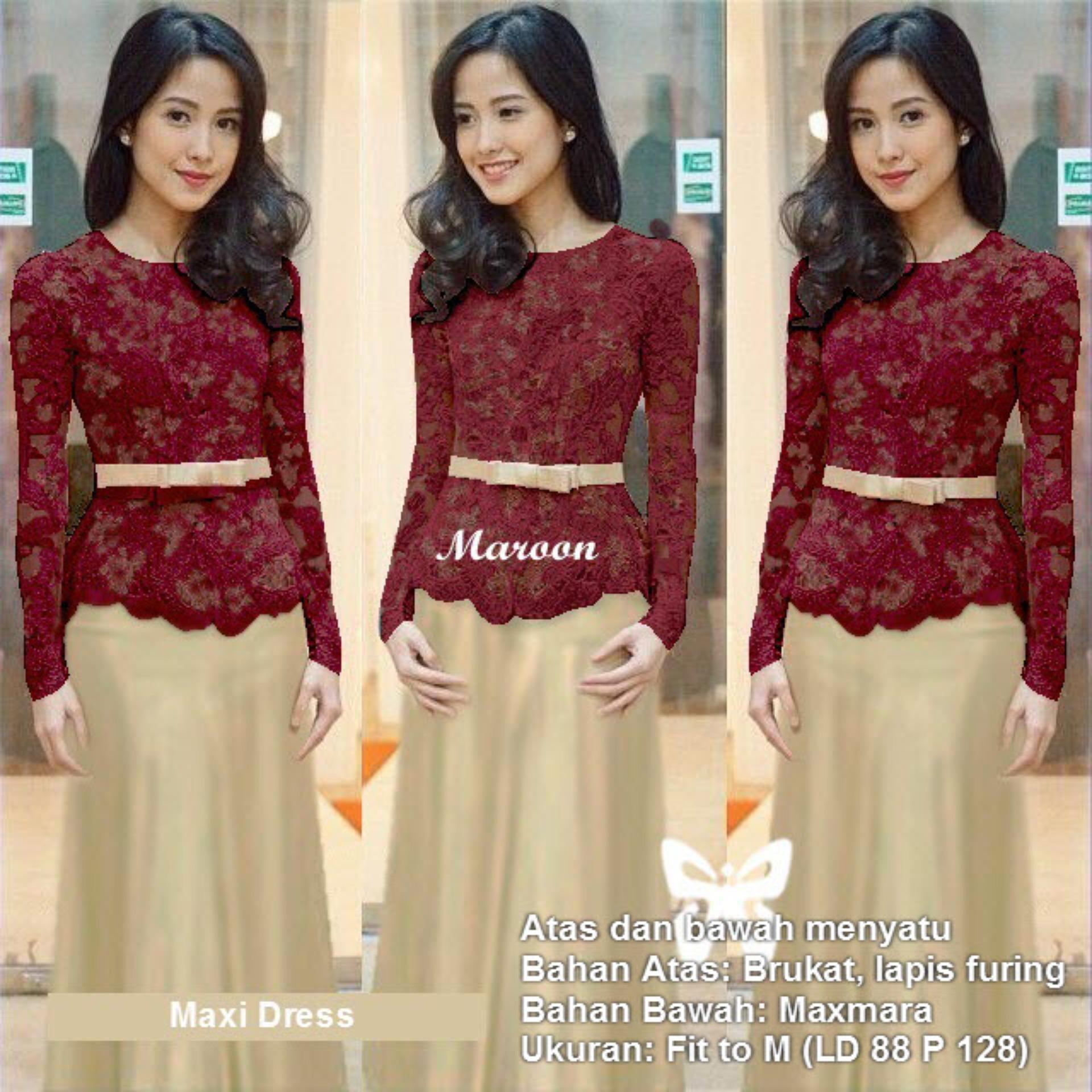 Maxi Dress Lengan Panjang Brukat Msr146 Kebaya Modern Gamis Syari Gaun Pesta Muslimah Baju Muslim Wanita Syar I Hijab Brokat Srmeliana