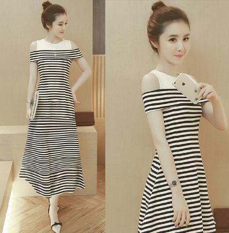 FJCO Hole Strip Maxi / Dress wanita / Fashion wanita