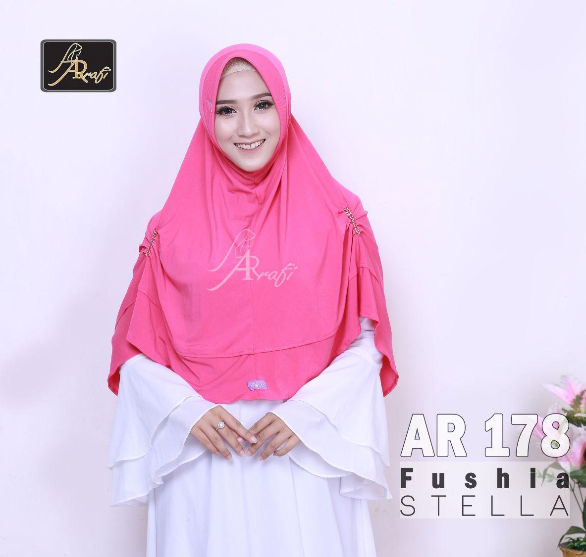 jilbab instan Kareen Permata Arrafi (warna Fushia) - AR178 - hijab kerudung syari khimar permata fashion muslim gamis