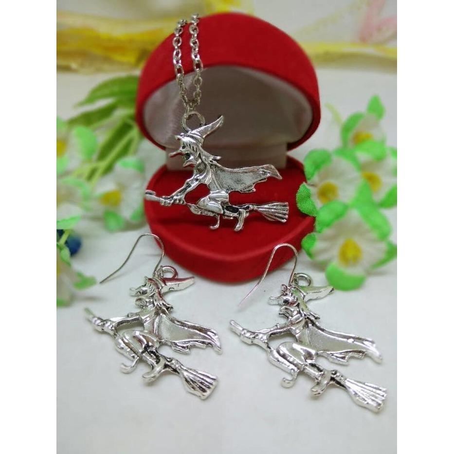 Buy Sell Cheapest Milea 1 Set Best Quality Product Deals Perhiasan Wanita Sapu Terbang Penyihir Kalung Anting Pw8