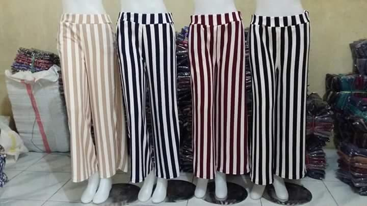 Celana Kulot Wanita Salur Bahan Wafel/Crepe [ADLI STORE]