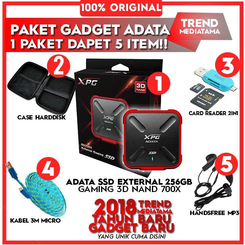 SSD Adata 700X External Gaming 3D NAND MERAH-ORIGINAL Gratis Handsfree MP3 + OTG Card Reader 2in1 + Case Harddisk / Powerbank + Kabel 3m Android Micro USB
