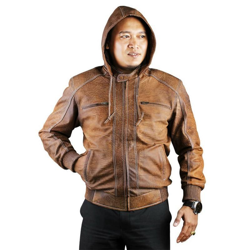 JK Collection Jaket Kulit Asli Pria Tan - JRF 005