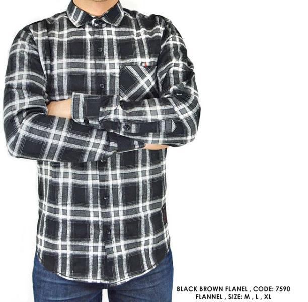van shirt store  KEMEJA PANJANG KERJA KANTOR FLANNEL FLANEL PANEL KOTAK ABU HITAM SOFT  Dark Tosca Tartan