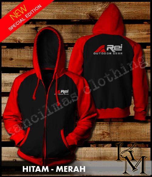 Sedang Diskon!! Jaket Zipper Rei Outdoor Gear Kombinasi Hitam - Merah - ready stock