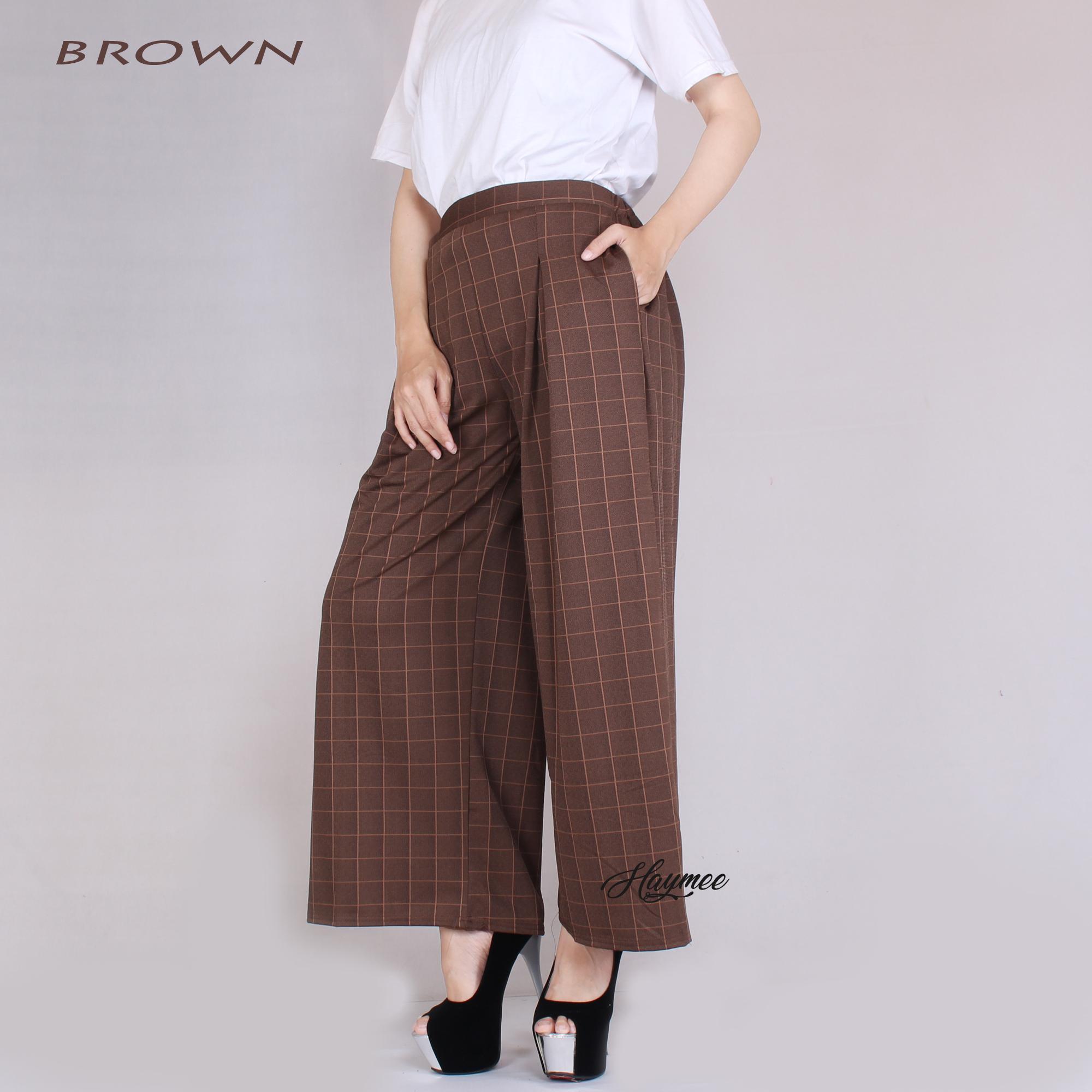 HaymeeStore Celana Kulot Panjang Kotak Wanita Celana Cullot Wanita Kulot Square Pants Bawahan Kantor Casual Premium