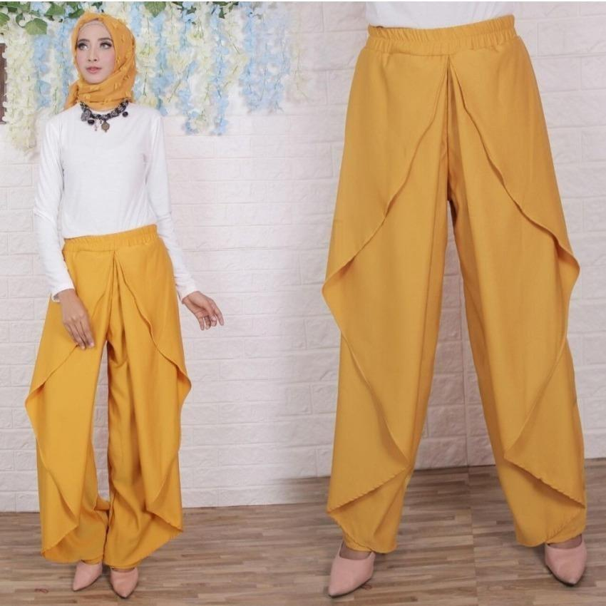Celana Panjang Wanita FS0729 - KUNING / Kulot Jogger Muslim Aladin / Bawahan Muslimah