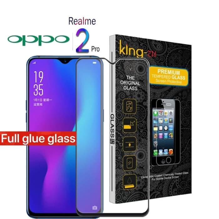 For 5D Oppo Realme 2 Pro 2018  King Zu Anti Gores Kaca NEW 2018  2018 Full Body Glue Tempered Glass For Oppo Realme 2 Pro Screen Protector 9H Full Cover Glass (Hitam)