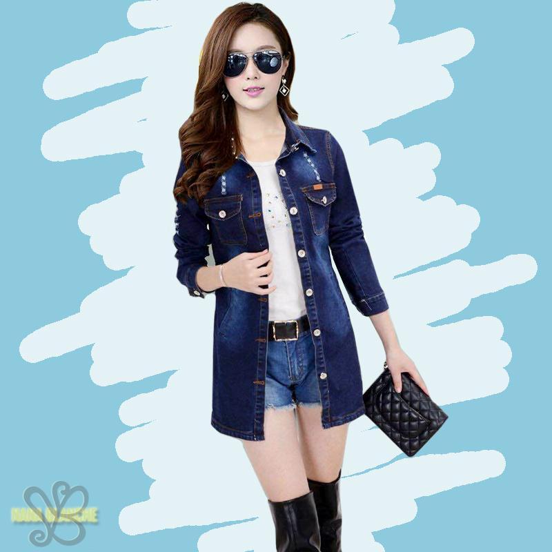 Nana Blanche Jojo Jaket Jeans/Outer Jeans/Kemeja Jeans Lengan Panjang - Blue Jeans