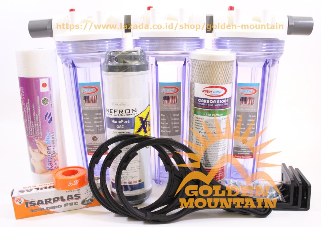 Saringan Wastafel Kamar Mandi Filter Air Bersih Spon 03 Catridge Paket Ledeng Pdam Antibacterial Full Set 3 Buah Housing 10