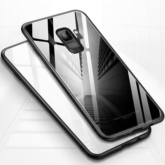 Samsung Galaxy J8 GLASS CASE Luxury Hard Soft Silikon