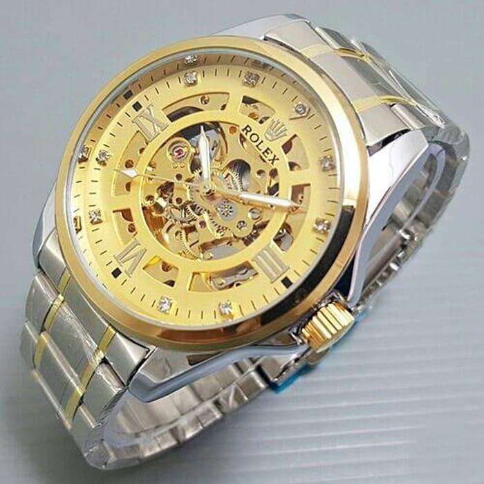 Jam tangan pria / Jam tangan pria original / Jam tangan pria murah / Jam tangan pria terbaru / Jam tangan pria swiss army / Jam tangan pria terbaik / Jam Tangan Pria Rolex Skeleton Big Size Diamond Rantai Kombi Gold DISKON MURAH!!!