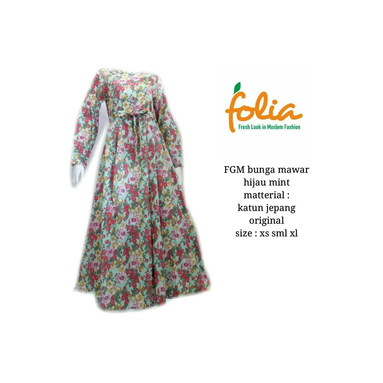 Gamis Folia FGM Bunga Mawar Hijau Mint Limited